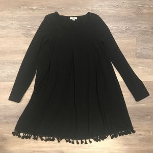 Boutique: Black Long Sleeve Dress with Tassels
